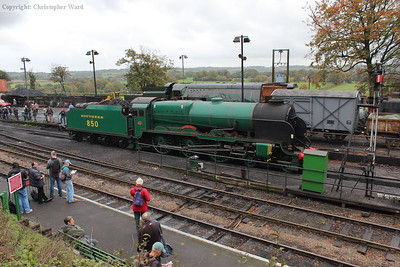 Lord Nelson, the spare engine on the Friday, sat in Ropley yard