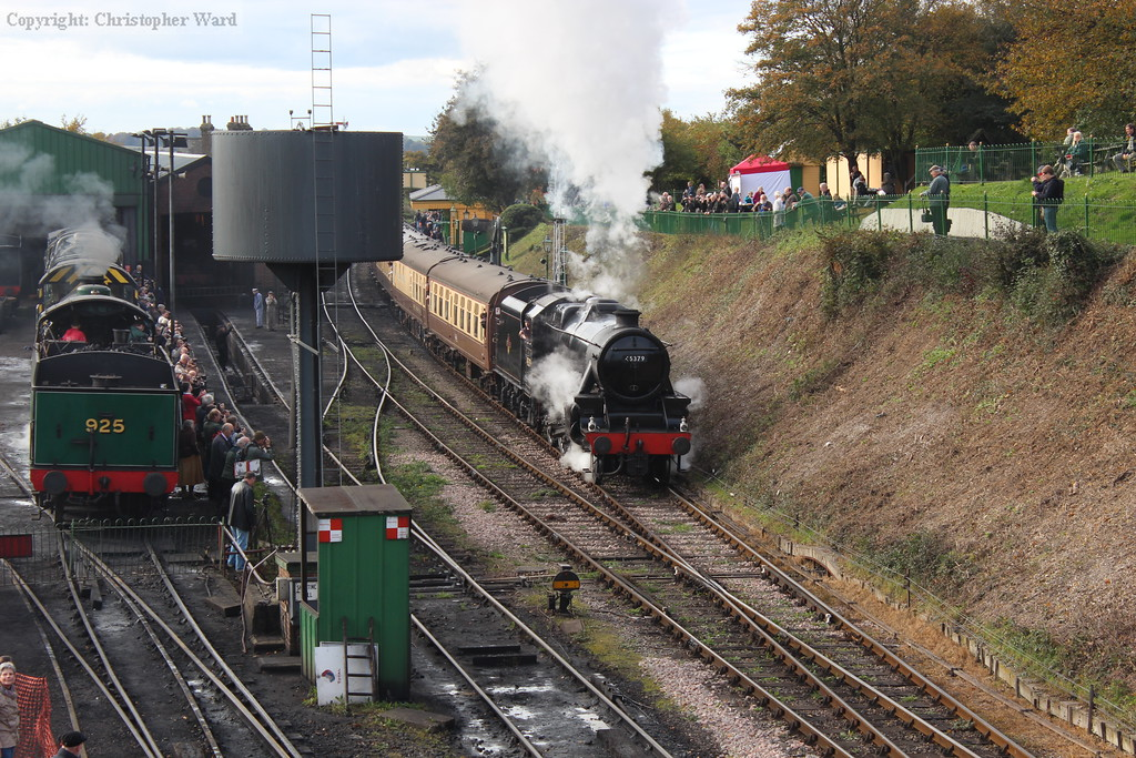 The Black Five gets away from Ropley with the dining train