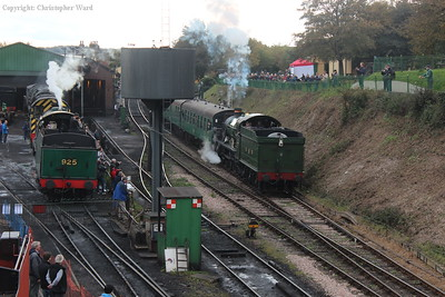 Two workhorses of competing regions, a Modified Hall and a Schools, at Ropley
