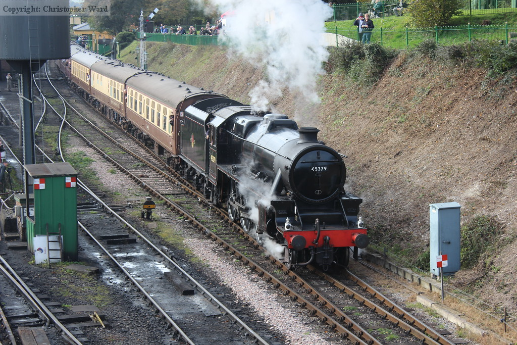 45379 prepares to tackle the climb to Medstead