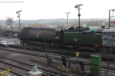 34007, the spare engine on the Saturday, sits in the yard awaiting a call to arms