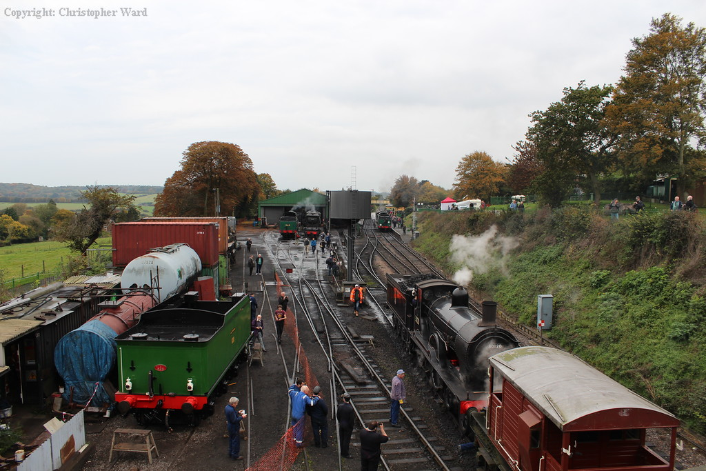 A cornucopia of Southern products with representatives of classes S15, V, West Country, T9 and Lord Nelson sharing Ropley station and the environs