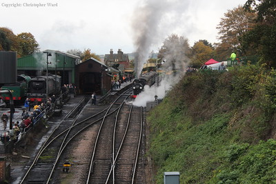 The T9 gets going again from the Ropley stop