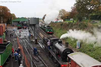 Lord Nelson pulls away as the T9 waits to be cleared for the road to Alresford