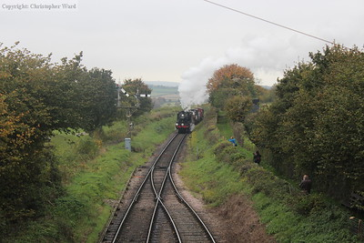 The Ivatt is cleared for the platform at Ropley