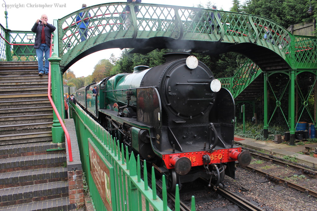 850 Lord Nelson arrives with a train from Alton at her final gala before withdrawal