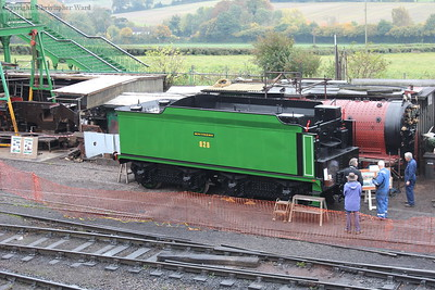 The tender of 828 in the yard for painting