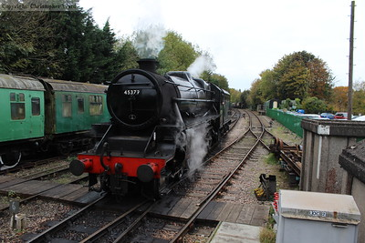 45379 backs off her train at Alresford