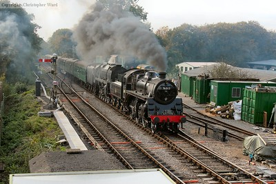 76017 and 92212 prove the match of the task and bring the lengthy train into Medstead station