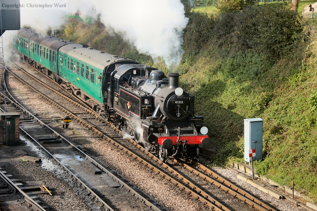 """The Ivatt tank looking right at home with the shortened """"local"""" set"""