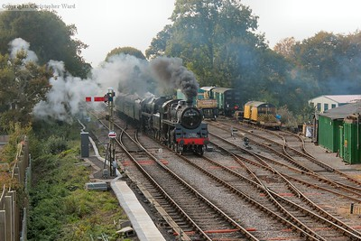 "76017 leads ""The Pines Express"", and 8 coach (plus van) working from Alresford"