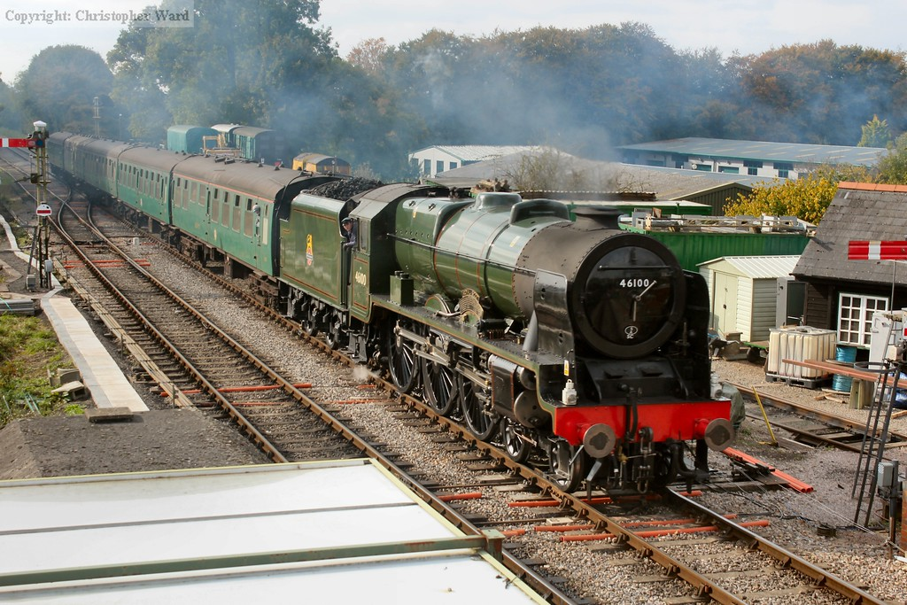 Royal Scot rolls into the platforms at Medstead