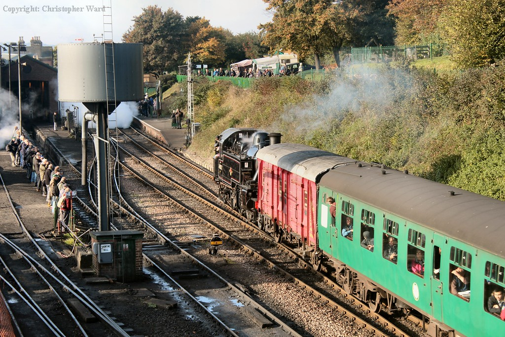 """The Mickey Mouse tank runs """"wrong line"""" into Ropley to allow for the Scot to shunt"""