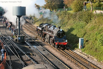Having bought in the freight from Ropley, 76017 re-positions to the rear of the train
