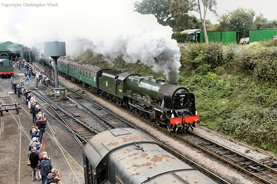 46100 Royal Scot gets away from Ropley and prepares to assault the bank
