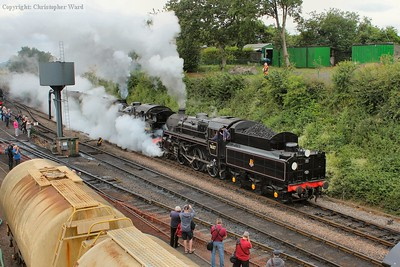 76017 hides 80078 largely from view as they make an atmospheric departure