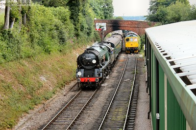 35006 arrives and draws to a halt at the inner home for Ropley