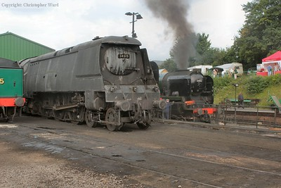 Styles of Bulleid in contrast as 34007 (disguised as 34019) sits in a grubby state in the yard like 34053 is prepared for service
