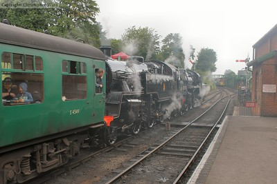 The Standard 4 pairing of 80078 and 76017 wait to take the first train of the day to Alton