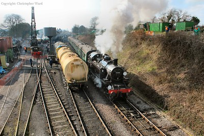 "41312 pulls away from Ropley past ""the drain train"" and heads for Medstead"