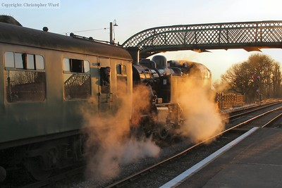 41312 in the late afternoon sun waiting to return to Ropley and Alresford