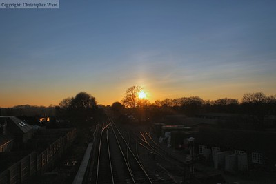 Sunset at Medstead over the goods yard