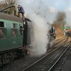 The crew of the 9F finish taking water prior to tackling the climb ahead