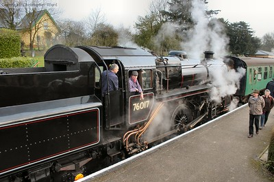 The crew of 76017 wait the signal to depart Ropley