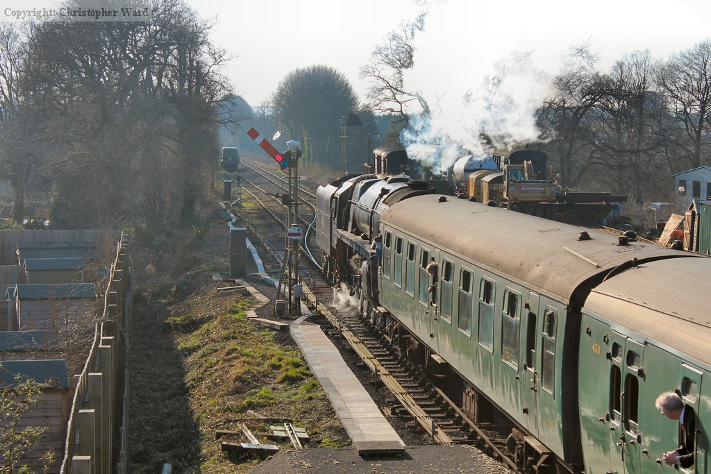 After calling for custom, 92212 departs Ropley-bound
