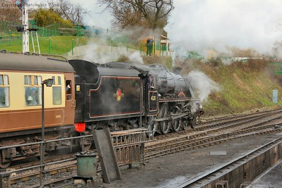 45231 gets away from Ropley with an Alton train formed of the dining coaches