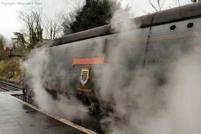 Leaking steam from a number of places, 34007 prepares to depart for Alton