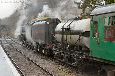 92212 prepares to take a local train (formed of two coaches and a milk tank) to Ropley, something of an overkill