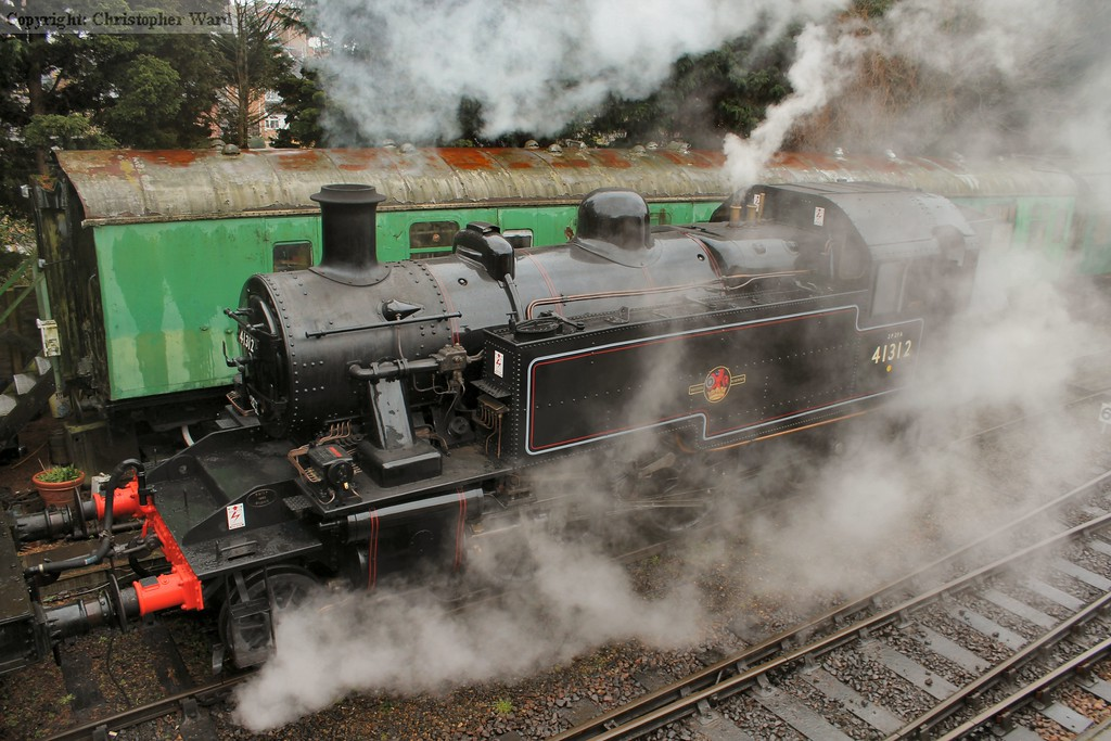 The Ivatt tank at rest after bringing in a short freight from Ropley
