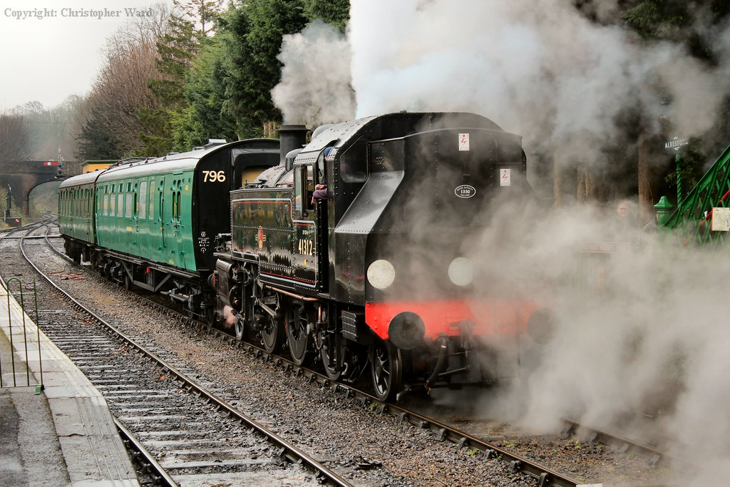41312 after arriving from Ropley. The coach beyond the engine is the also recently restored Bulleid brake 4211.