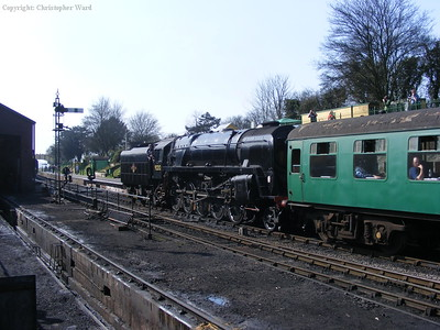 92212 gives Lord Nelson a helping shove out of Ropley