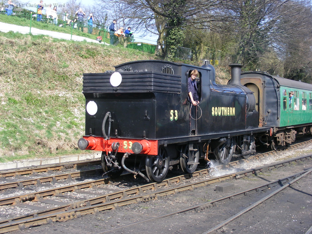 53 makes an unscheduled return to Ropley owing to a line-side fire between Medstead and Alton