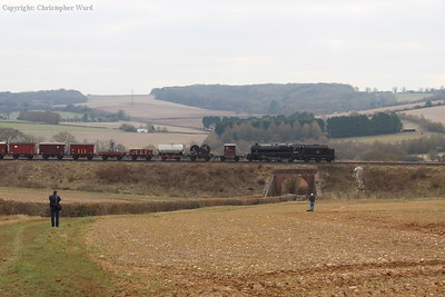 The Black Five with the meatier goods train