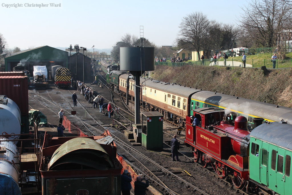 A busy scene at Ropley as Wadebridge crosses the U class in the station, Metropolitan #1 waits to enter the station and 925 is in light steam in the yard