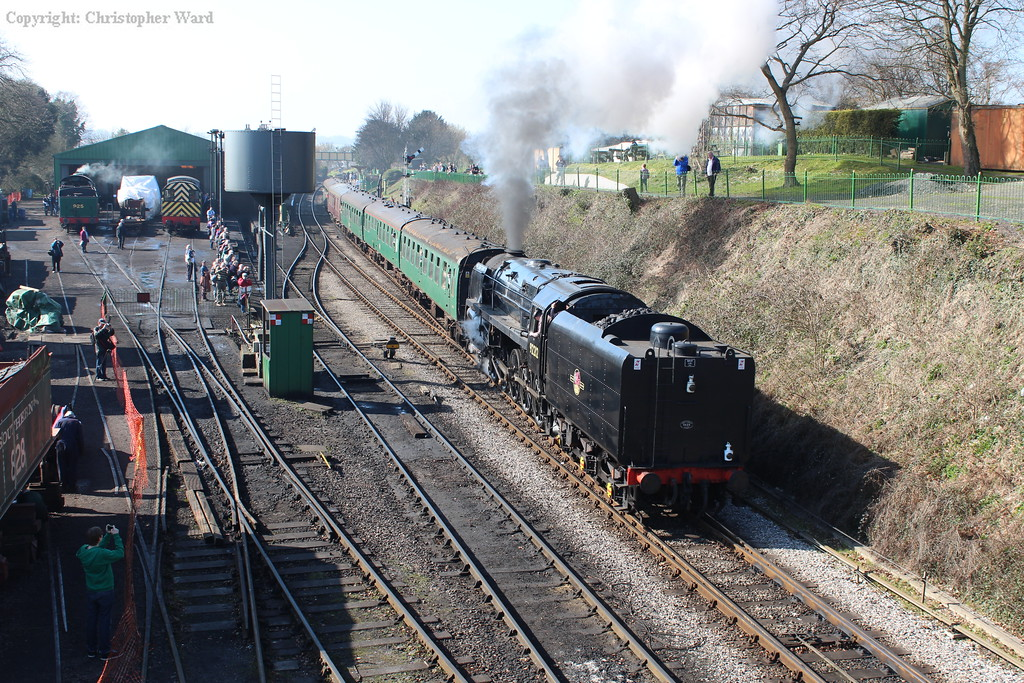 The 9F passes the yard