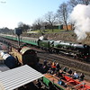 Clan Line pulls away from Ropley in the sunshine