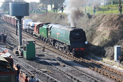 Wadebridge brings the goods train out of Ropley
