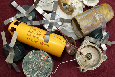 The bomblet that wounded Nasrullah was from a cluster bomb dropped by the United States.  Each bomb contains 202 deadly bomblets, each fracturing into about 300 steel, body-piecing and tank-penetrating, fragments.