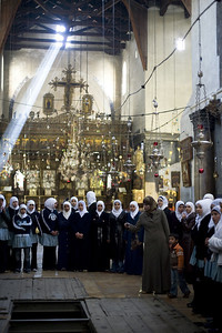 Bethlehem. Muslim students visit the Church of the Nativity and learn about its historical significant. Jesus and Mary are highly revered by many in the Muslim faith. The Church of the Nativity is considered the most sacred Christian site after the Holy Sepulcher in Jerusalem.