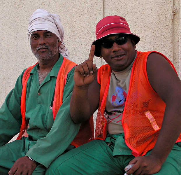 Indian and Omani workers, Muscat, Oman