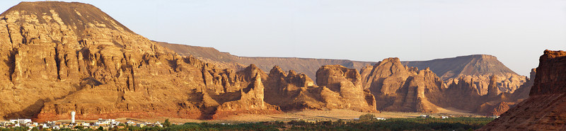 Al-Ula.  I spent the night at a nice hotel in al-Ula before my trip to the Nabatean ruins at Madain Saleh.  At dawn I climbed the hill behind my hotel to see this beautiful view.