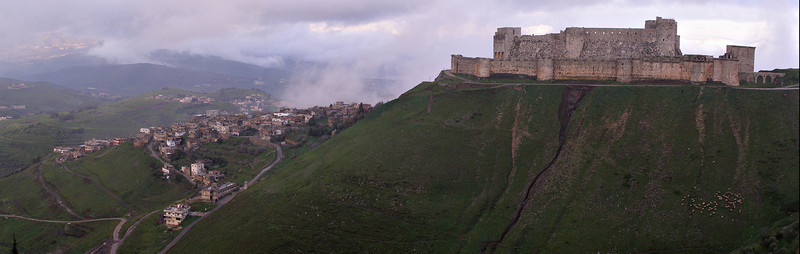 Krak des Chevaliers (Qala'at al Hosn).  I was able to get my Syrian visa at the Lebanese border north of Tripoli--by no means a sure thing.  I then took a cab to Qala'at al Hosn for the night.  This was the view from my hotel room: perhaps the most famous Crusader castle in existence.