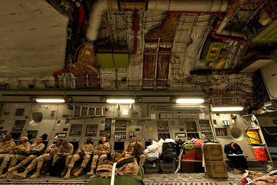 Naked interior of the C-17 during a flight to Bagram, Afghanistan from Ale Al Salem, Kuwait.
