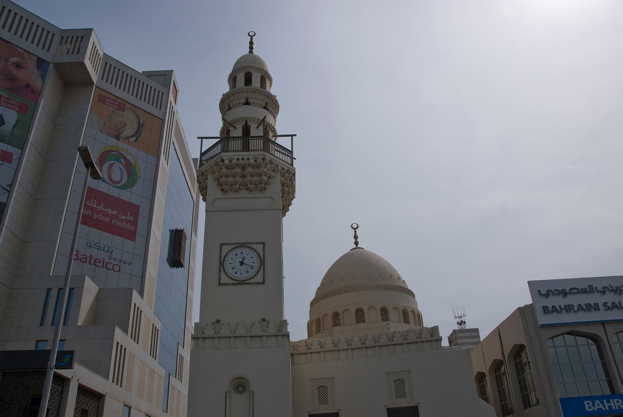 Mosque and Clock Tower in Manama, Bahrain