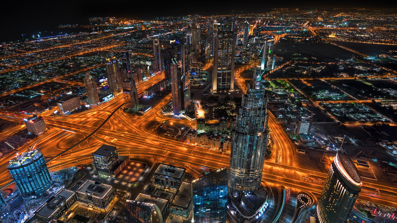Night over Dubai from the Burj Khalifa