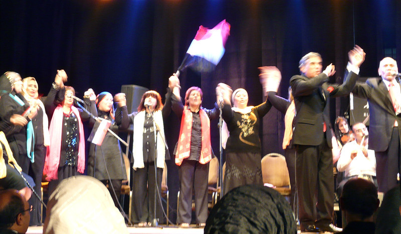 Boomer chorus performs Egyptian Golden Oldies at the Culture Wheel in Cairo